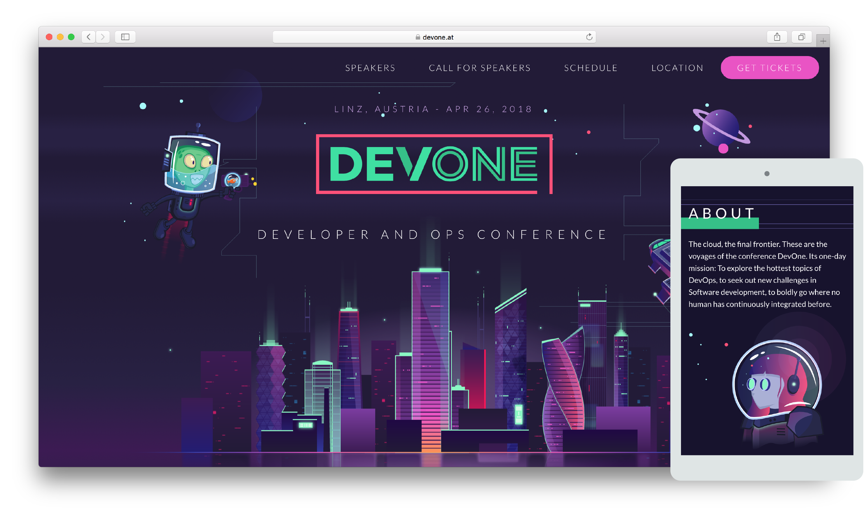 Devone: a one day developers conference in Linz. Organization, conceptual design, web development, social media marketing.
