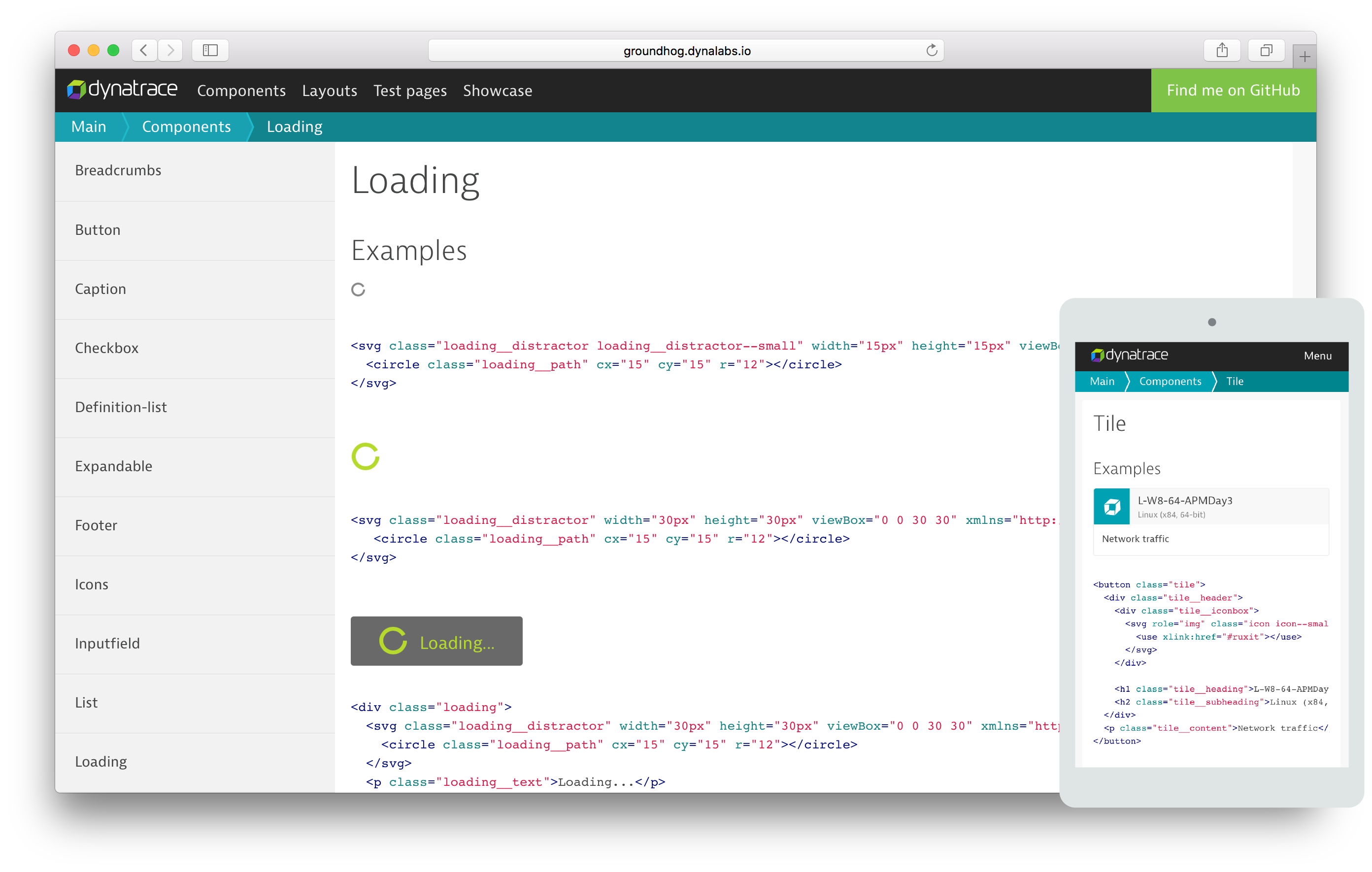 Groundhog.dynalabs.io a CSS component library for all Dynatrace web entities.